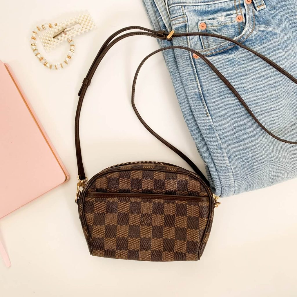 brown and black designer shoulder bag checkered